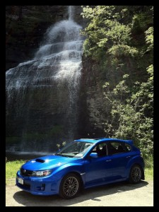 2011 Subaru WRX at a Waterfall